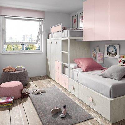 cama tren para niñas rosa y color madera claro Dormitorios