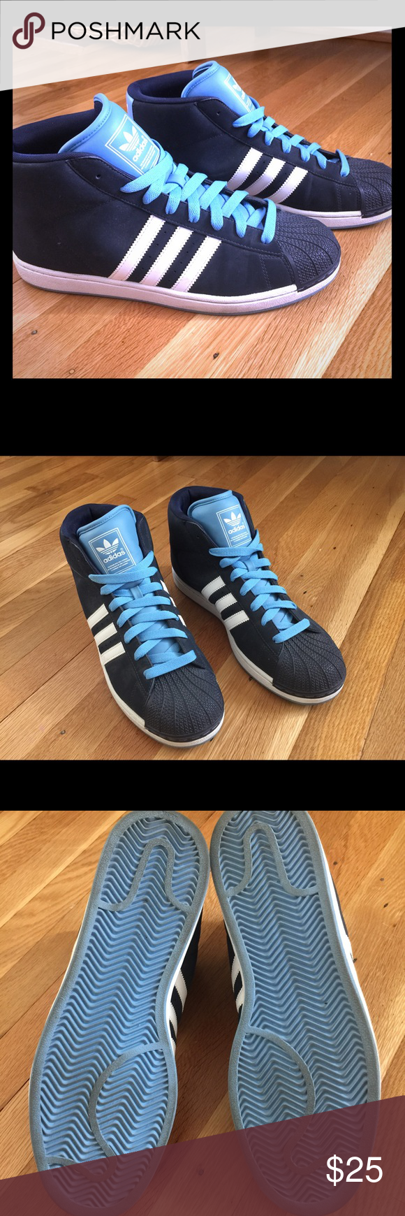 1833d6b7edd9 Men s Adidas Shell Toe High Top Sneakers Men s Adidas Shell Toe High Top  Sneakers in Navy Blue with Light Blue Laces. Size 12.5. Worn 2-3 times  only
