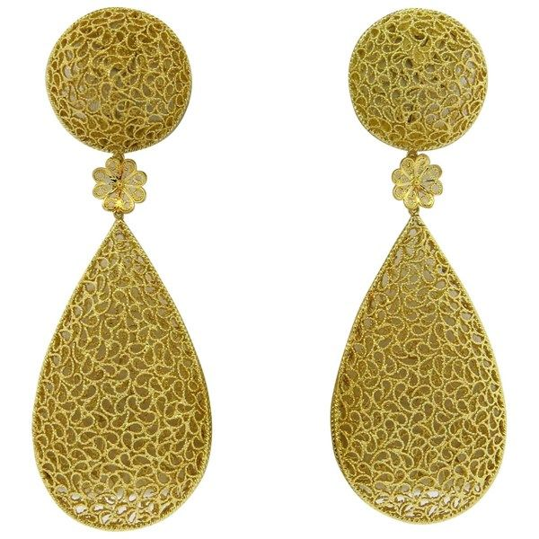 Impressive Buccellati Filidoro 18k Gold Long Drop Earrings