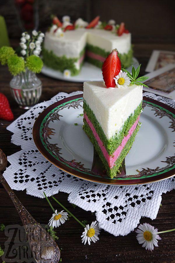 Waldmeistertorte mit Erdbeeren - Muttertagstorte - Zungenzirkus