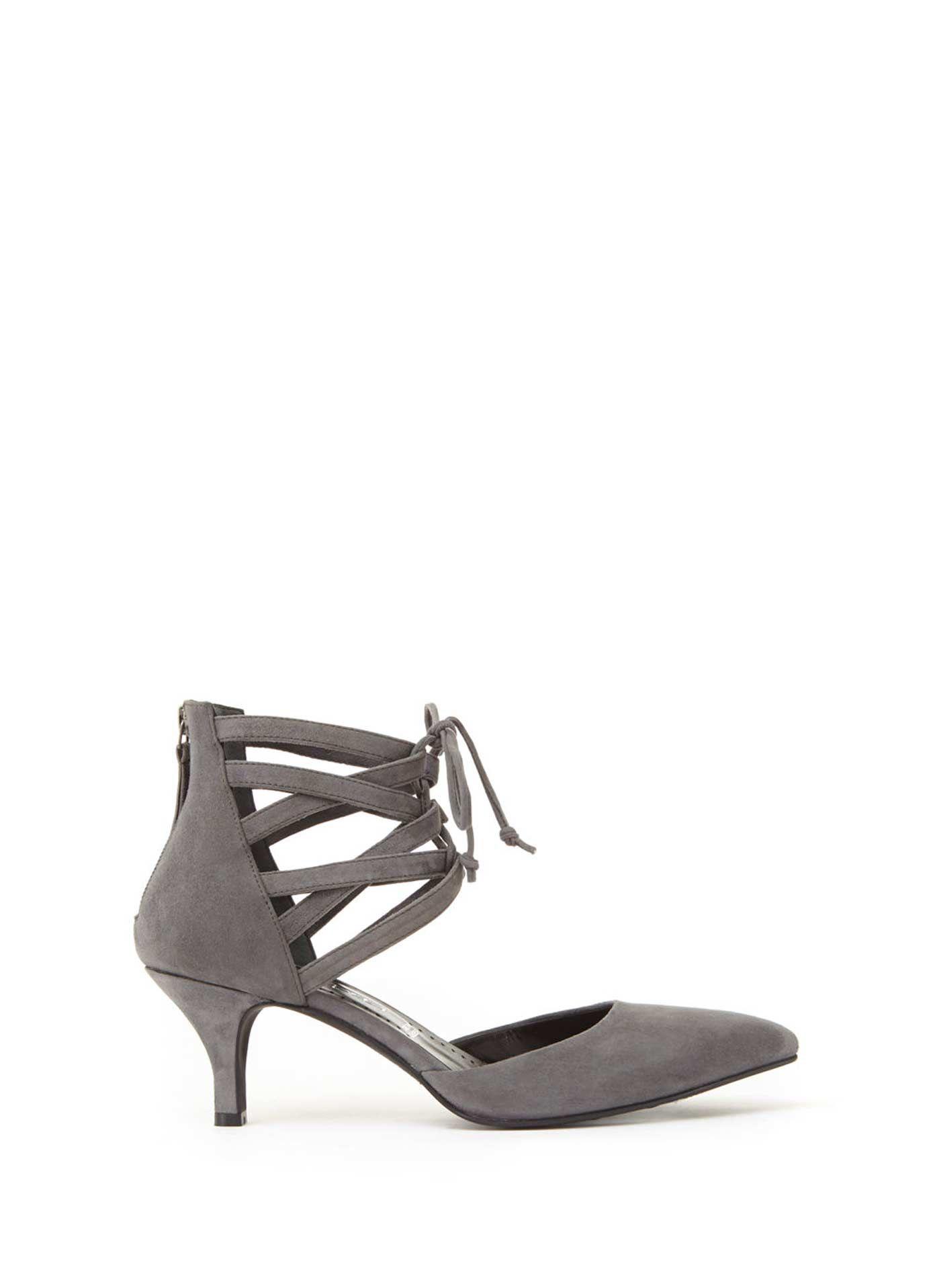 5f56767bafd Grey Olive Lace Up Kitten Heel