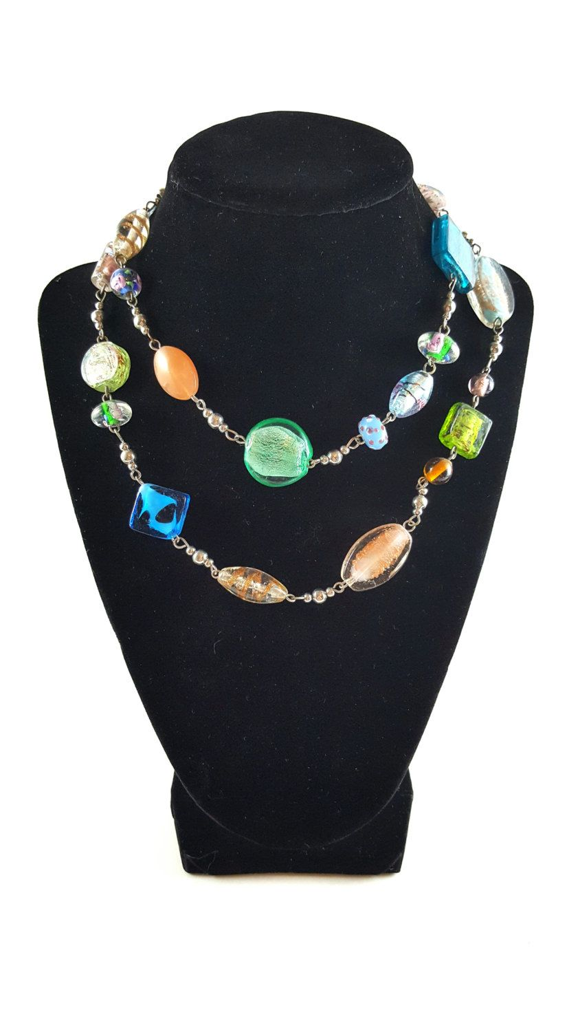Premier Designs multi color glass beaded necklace vintage designer