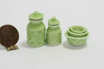 Dollhouse Miniature Kitchen Canister & 3 Bowl Nesting Set in Green #miniaturekitchen