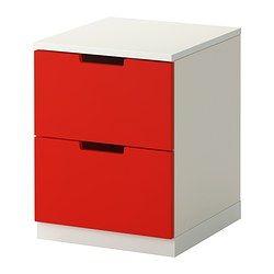 Nordli c moda de 2 cajones rojo blanco ikea mesas - Ikea mesitas de noche y comodas ...