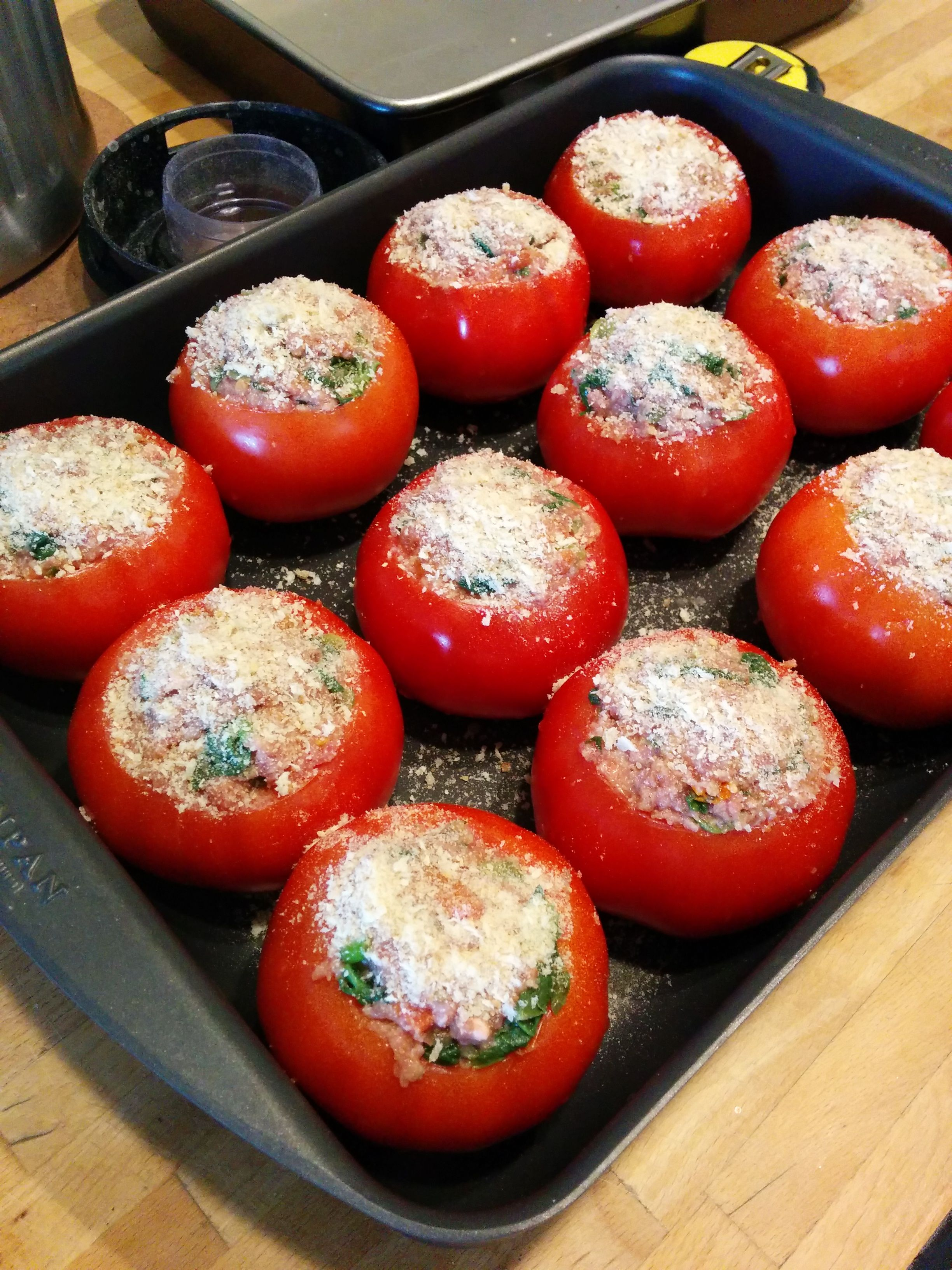 Stuffed Tomatoes Ready To Go In The Oven Unfortunately I Forgot To Take A Photo After Cooking Cooking Food Tomato