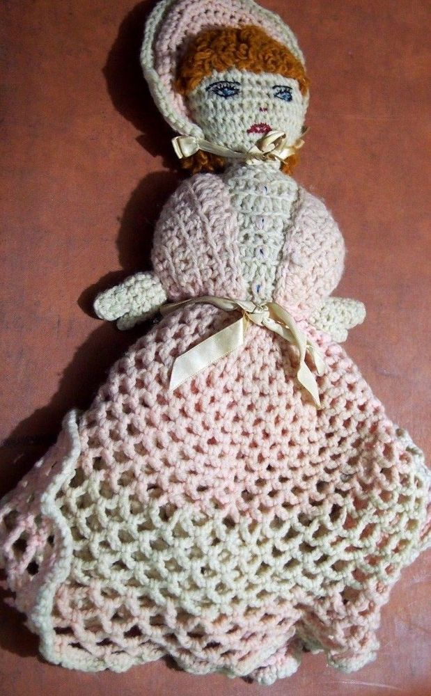 Antique Hand Crocheted Crafted Doll Vintage Folk Art Vintage Handmade Primitive