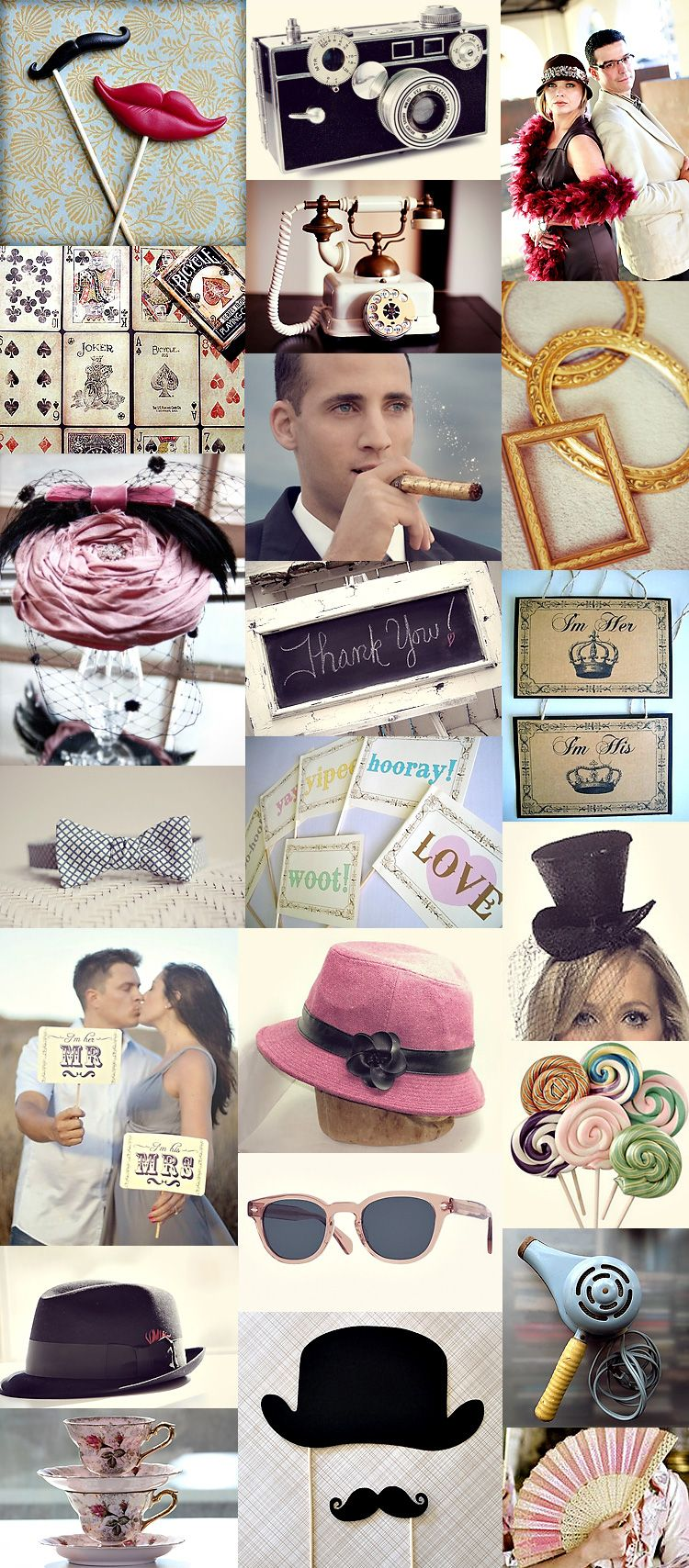 Vintage photobooth props