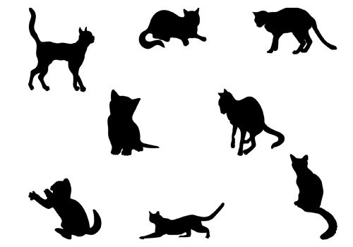 Cats Silhouette Vector Download Eight Cat SilhouetteSilhouette ...
