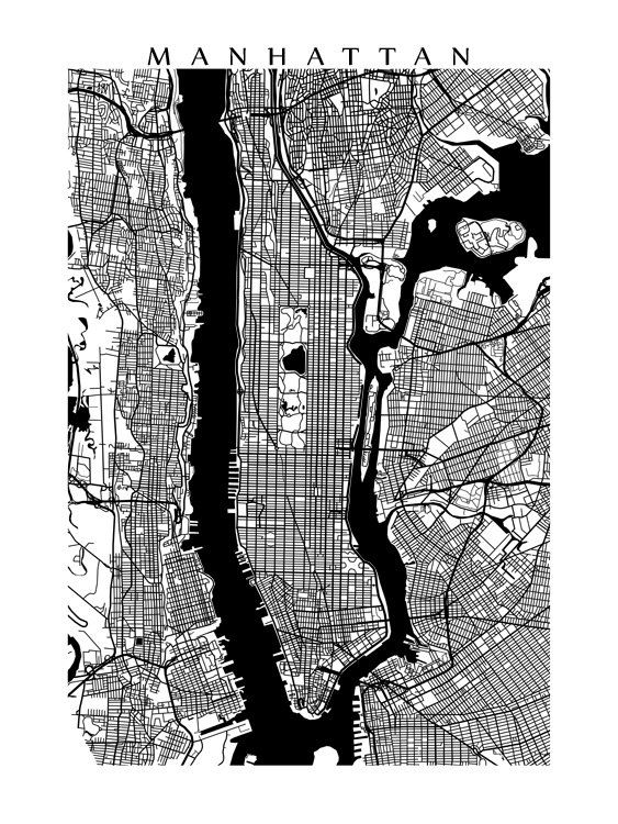 New York Map Black And White.Manhattan Map Print Black And White New York Poster Art