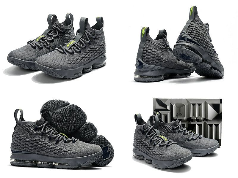 2017 2018 Lebron 15 XV Wolf Grey Lime Green  bb544533d9