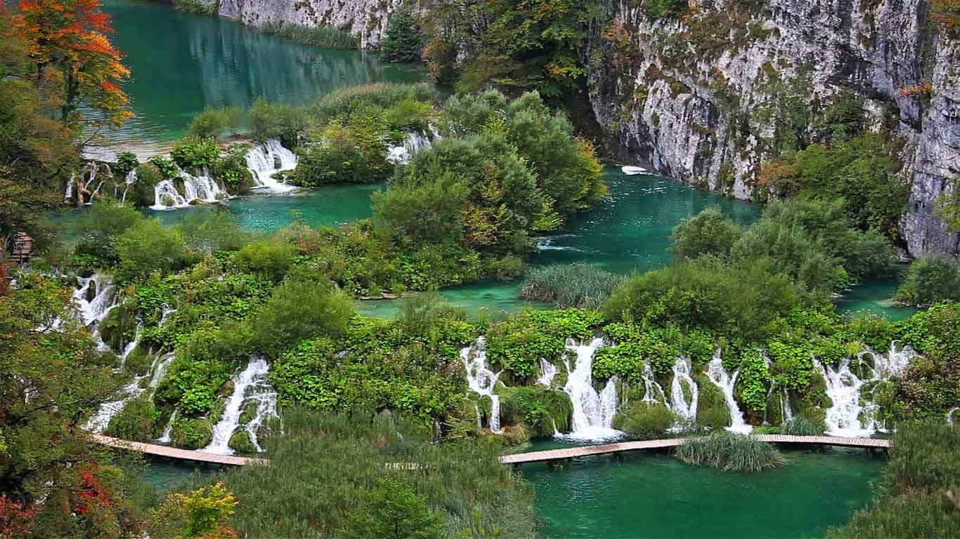 Water flows in Plitvice Lakes National Park, Croatia