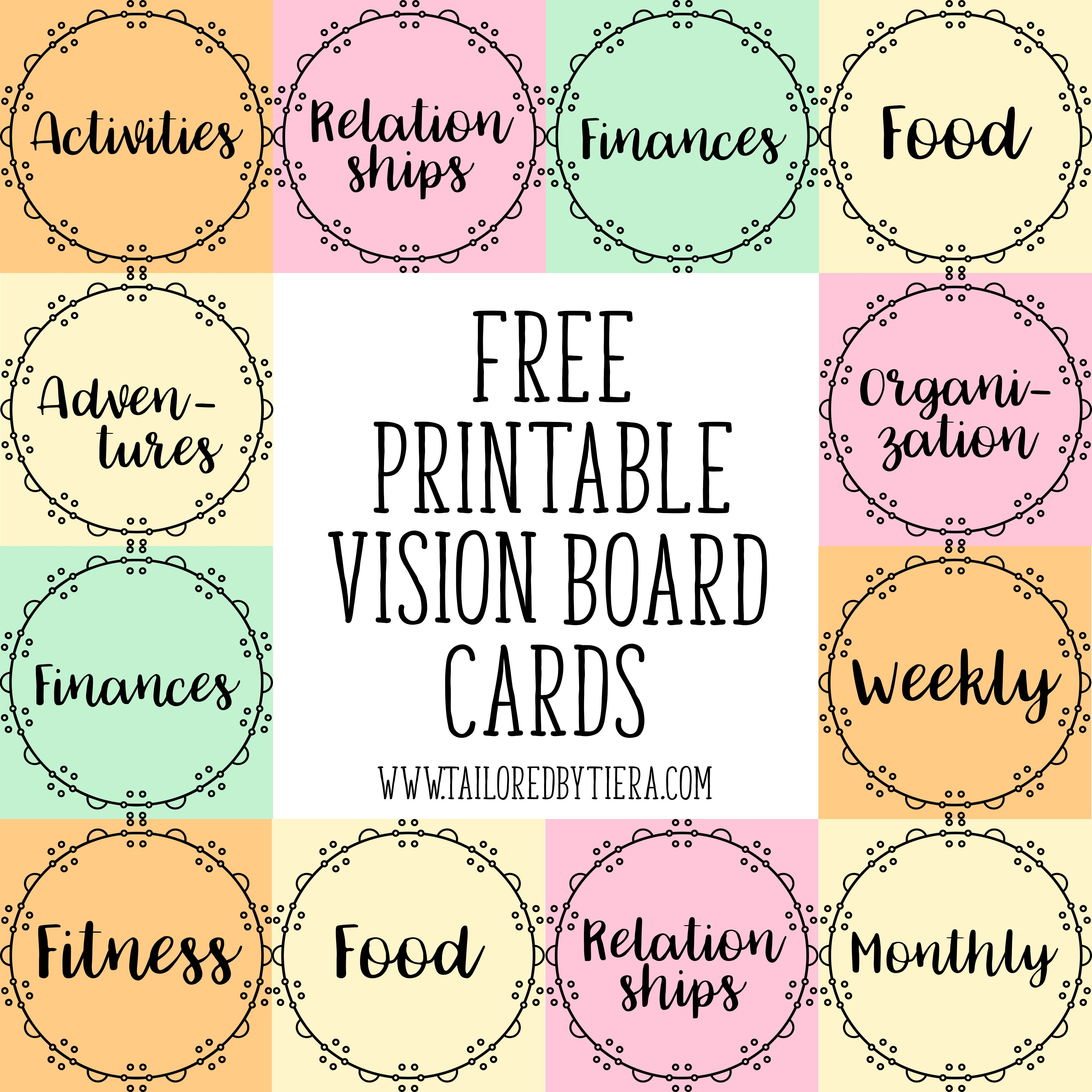 How To Use Visuals To Stay Motivated Vision Board Cards For Creating Goals Tailored By Tiera Vision Board Template Vision Board Inspiration Free Vision Board