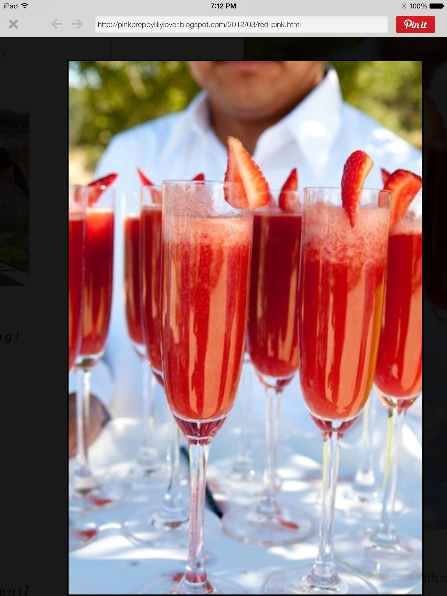 Mmmmmmm...Strawberry Mimosas: puréed strawberries blended with chilled champagne.