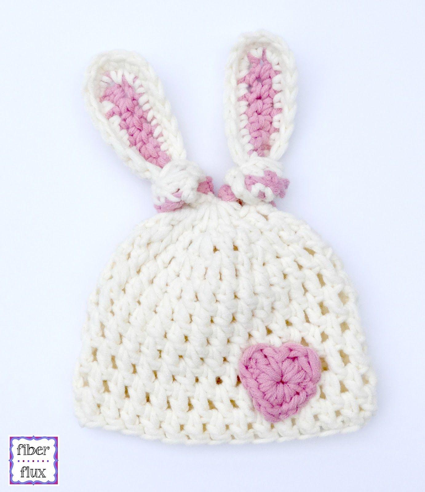 Free Crochet Pattern...Newborn Bunny Knot Hat! (Fiber Flux ... 5f30908bcfd