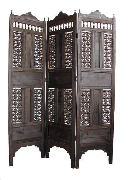 Great Dark Wooden Mosharabia Folding Screen