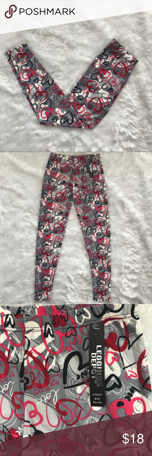 458c965d5ac Leggings Depot Plus Heart Valentine Love Soft TC Brand new with tags. Plus  size -