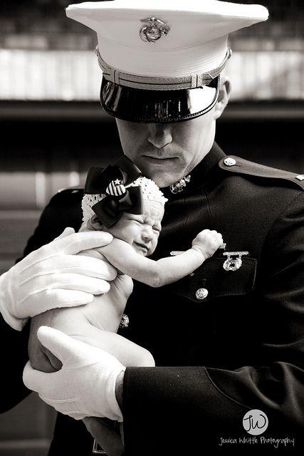 newborn kori + her awesome marine daddy