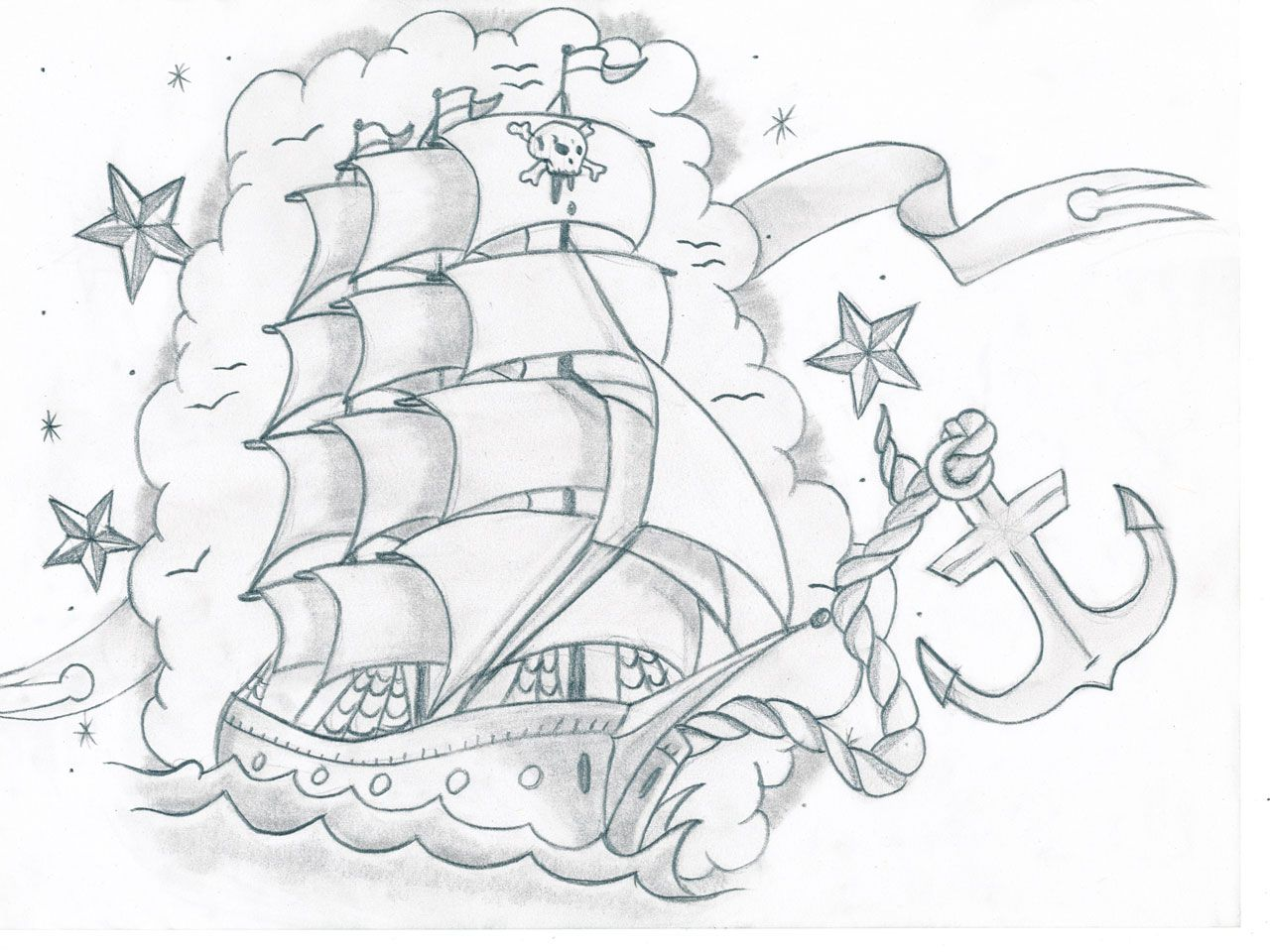 Free Designs Pirate Ship And Anchor Tattoo Wallpaper Ship Tattoo Pirate Tattoo Coloring Pages [ 960 x 1280 Pixel ]