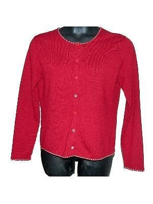 Womens Saks Fifth Avenue Red 100% Cashmere Cardigan Sweater sz ...