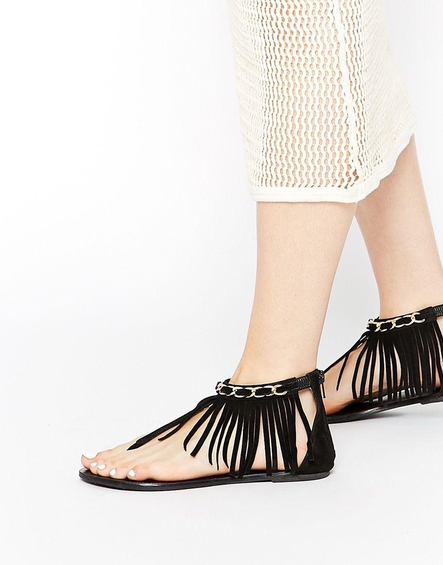 Image 1 of ASOS FORNA Fringe Flat Suede Sandals