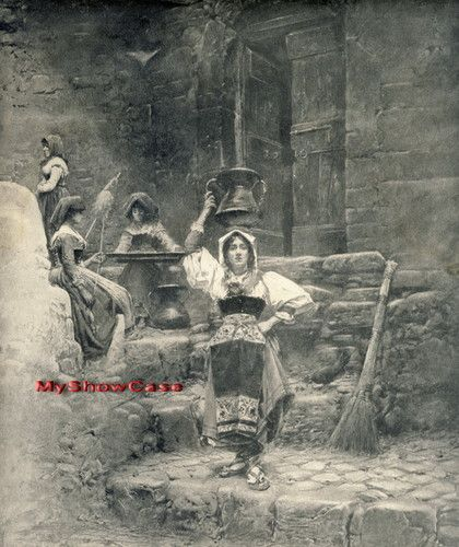 c1894 Rare Antique print c19th Italian Water Carrier Woman Spinning Wool Naples