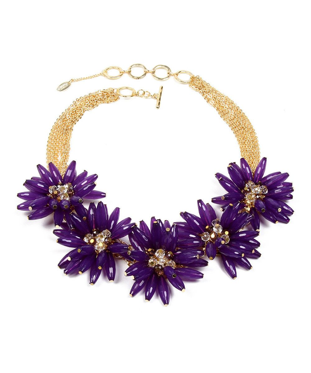 Look at this Amrita Singh Gold & Purple Botanical Necklace on #zulily today!