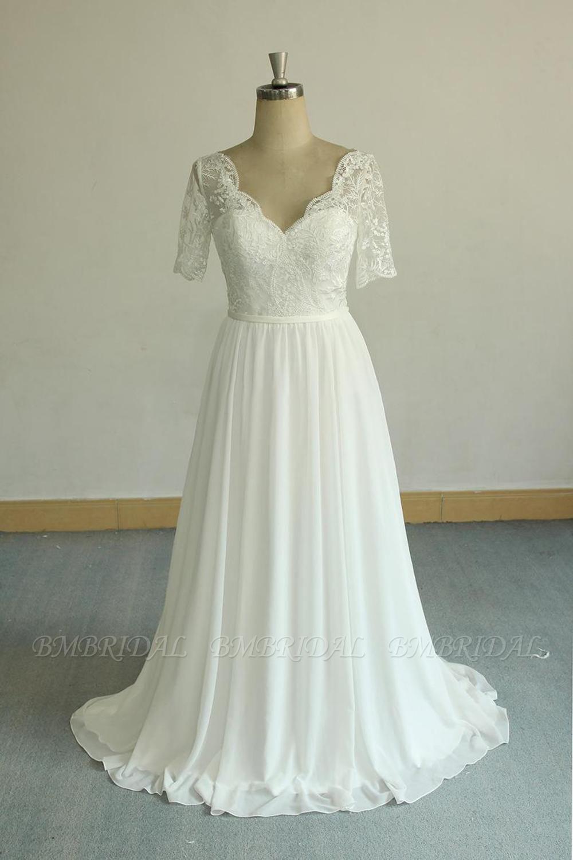 Bmbridal Affordable Halfsleeves V Neck Chiffon Wedding Dresses White A Line Ruffles Bridal Gowns Online In 2021 Short Sleeve Wedding Dress Ruffle Bridal Gown Bridal Gowns Online [ 1500 x 1000 Pixel ]