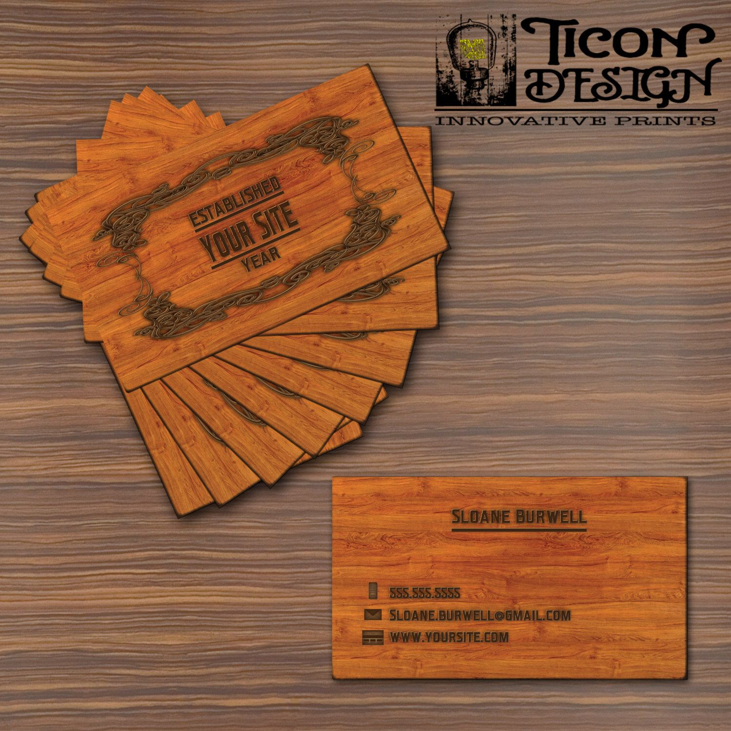 Business cards burnt wood thick paper standard