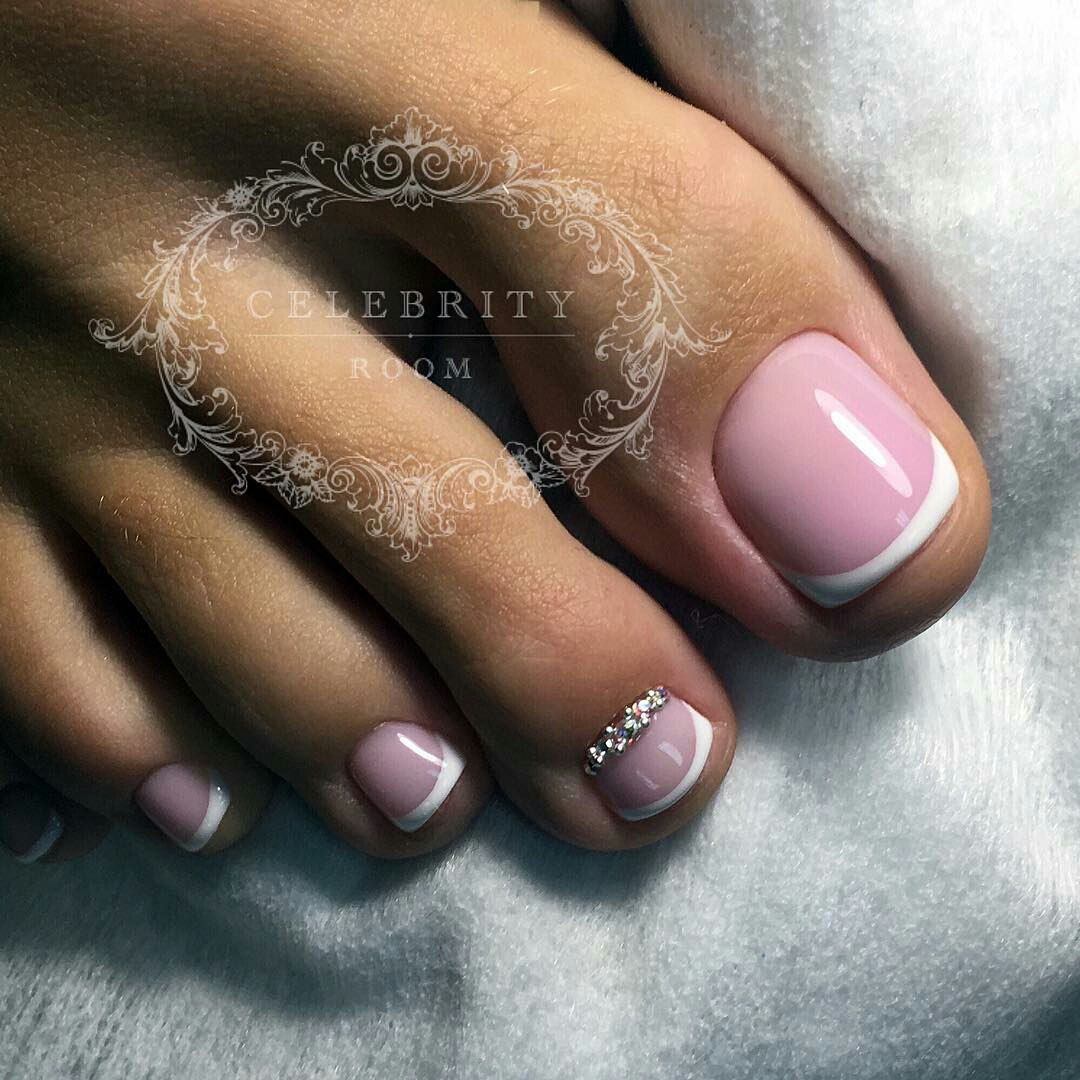 French Rhinestone Toe Nail Art