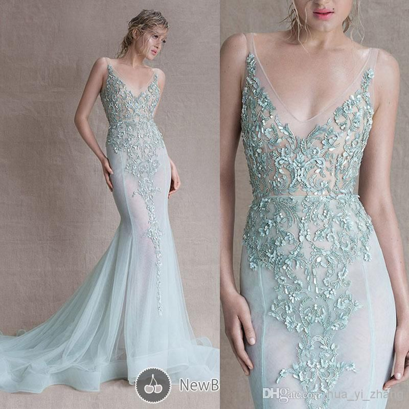 a49f456c47 2015 Paolo Sebastian Evening Dresses Deep V Neck Light Blue  Appliques/Beading/Sequins Court Train Sheer Evening Gowns Dhyz 01, $144.91  | DHgate.com