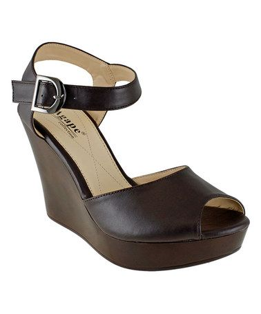 Loving this Brown Peep-Toe Purdue Sandal on #zulily! #zulilyfinds