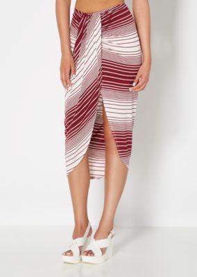 Burgundy Striped & Draped Midi Skirt | Midi | rue21