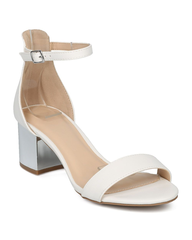 4817489e47a Shoes Wild Diva HE58 Women Leatherette Open Toe Minimalist Metallic Block  Heel Sandal