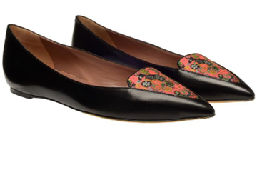 Tabitha Simmons Alexa Pointed Toe Leather Flat Pumps  'Alexa' leather flat pumps From TABITHA SIMMONS Atelier    Black leather flat pumps with multi-pink and green floral silk embroidery at the toe