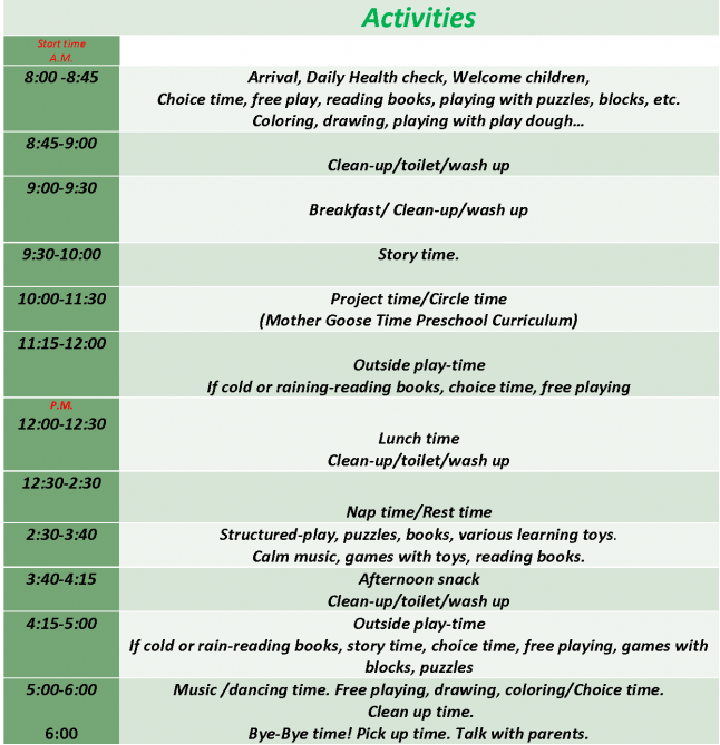 Really like this one. Preschool Schedule for 2-5 year olds. | Play ...