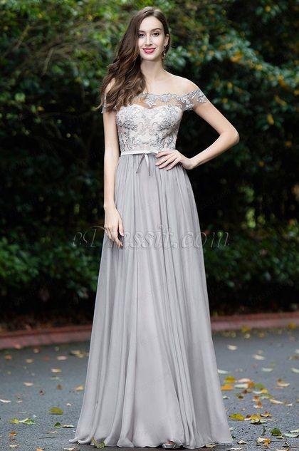eDressit Grau Schulterfrei Spitze Abendkleid(02171908)