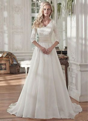 The Dress New Modest White Ivory Wedding Pleats Lace Bridal Gown Size 6 8