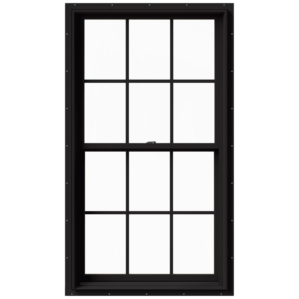 Jeld Wen 33 375 In X 60 In W 2500 Series Black Painted Clad Wood Double Hung Window W Natural Interior And Screen Thdjw177200511 The Home Depot In 2020 Clad Wood Double Hung Windows Jeld Wen
