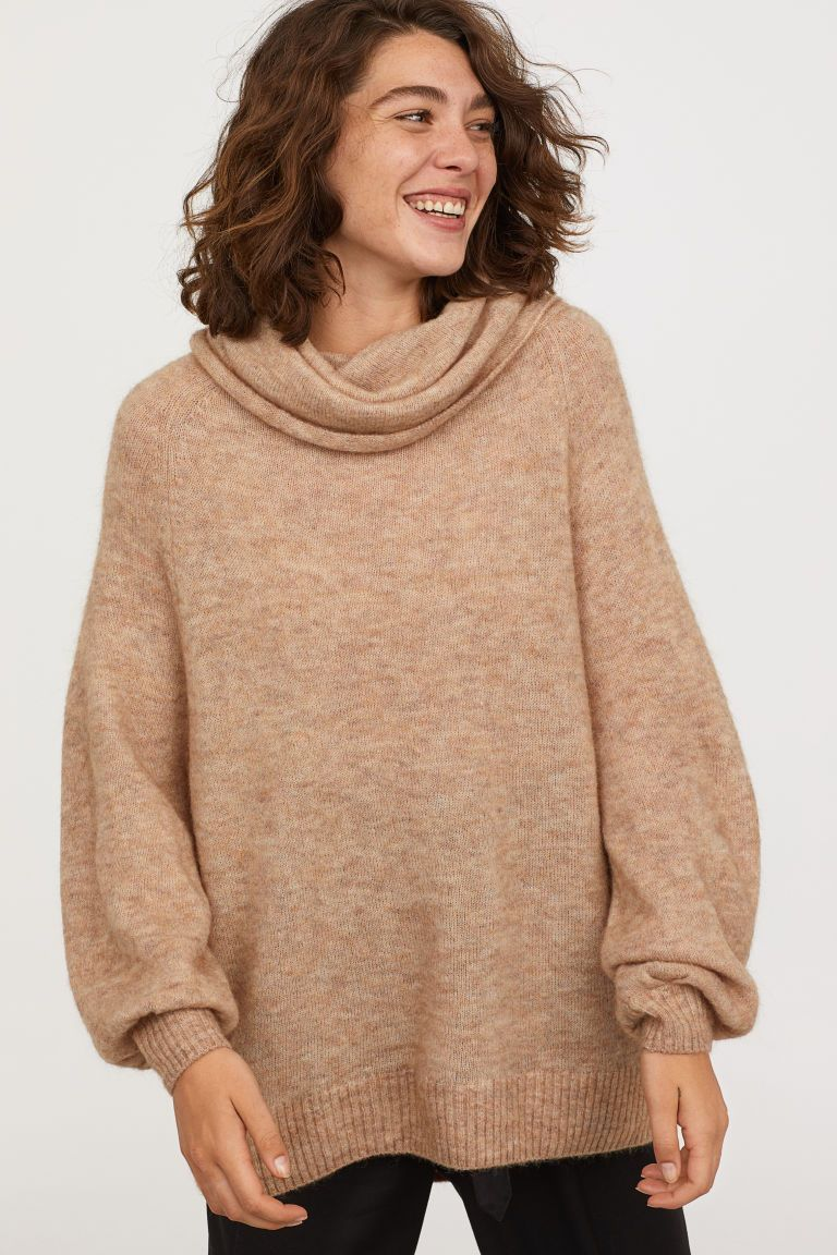 f22480f01b Oversized Cowl-neck Sweater - Beige - Ladies