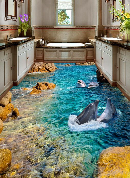 3D Peak Blue Ocean Floor WallPaper Murals Wall Print Decal