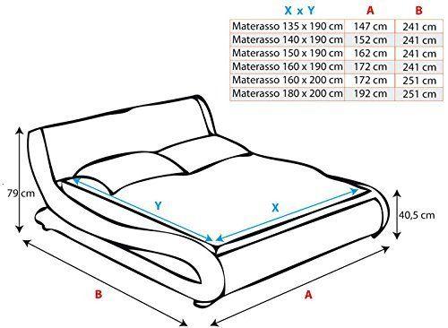 Materassi 160 X 180.Design Ameublement Lit Design Carol Blanc Avec Led 180x200cm