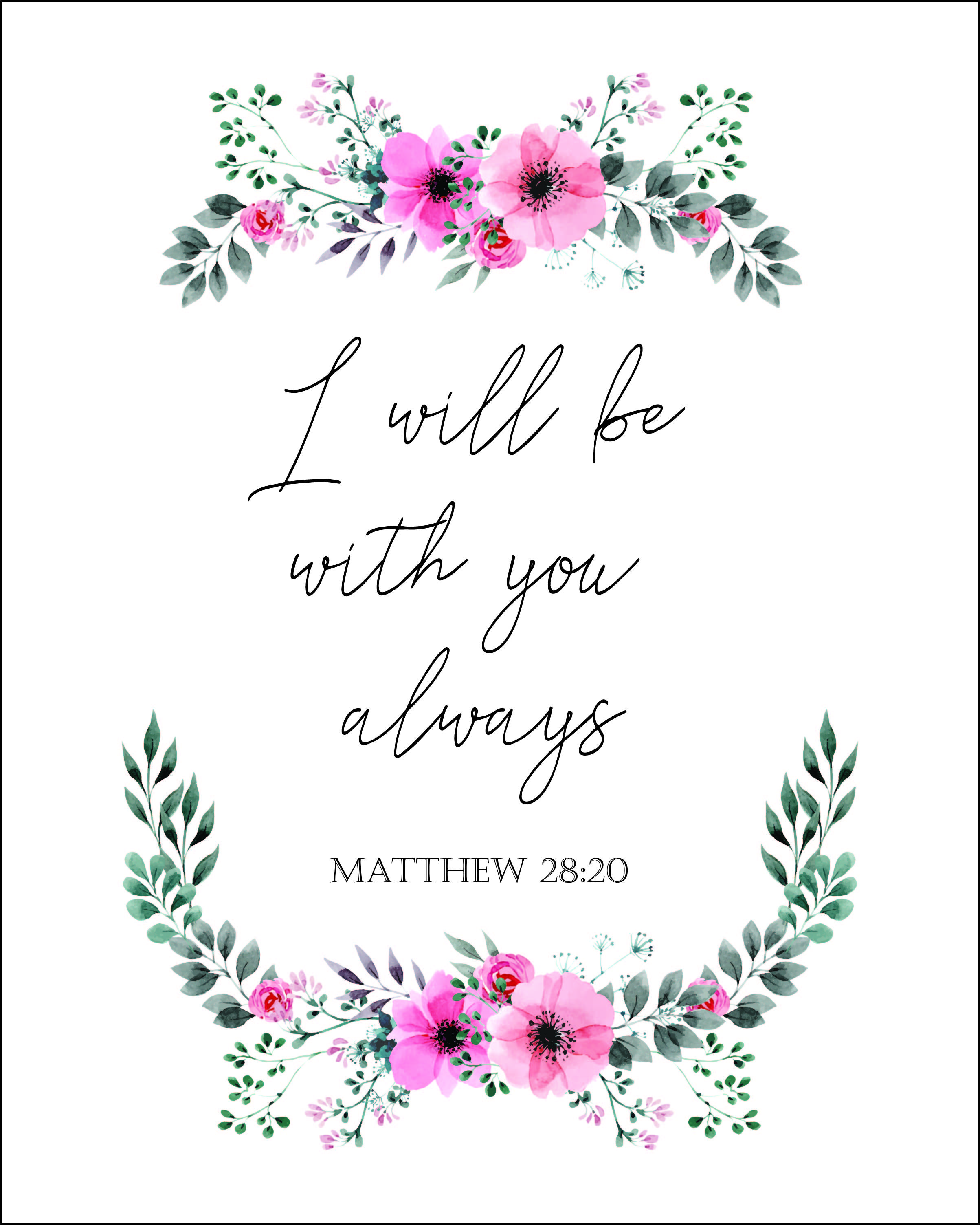 Bible verse free printable i will be with you always