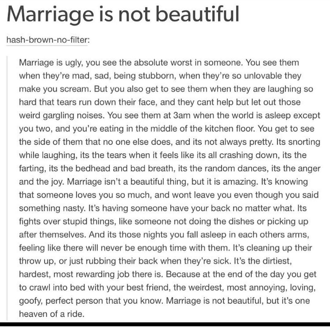 Marriage is not beautiful...