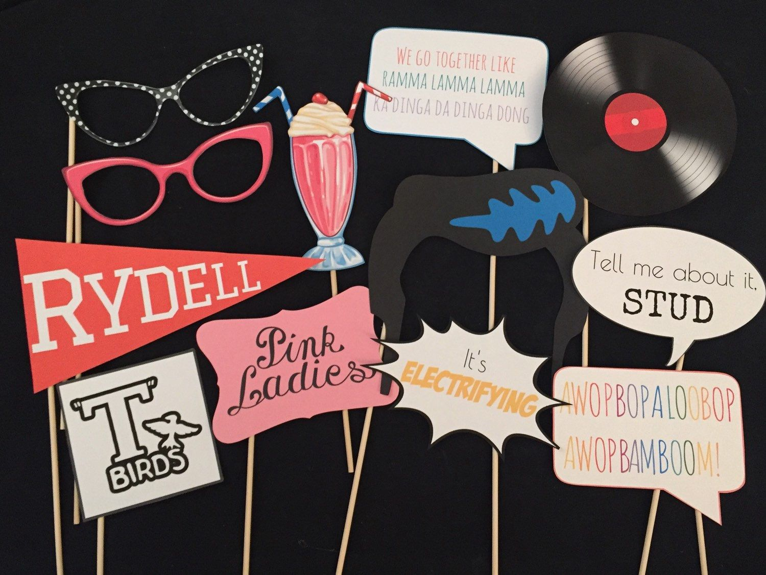 Grease Inspired Party Photo Booth Props Parties Pinterest