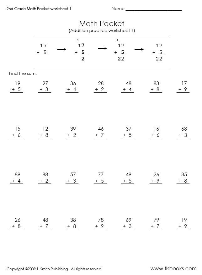 2nd grade math problems addition | ... of First page of the Second ...