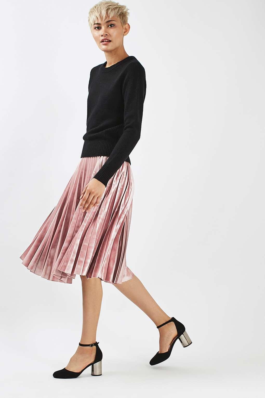 e2eacb3ec Velvet Pleat Midi Skirt in 2019 | Winter fashion | Velvet pleated ...