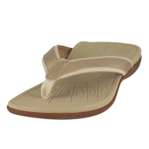 Aetrex Womens Venus Sporty Thong Dress Sandal Cream 37 EU7 M US *** Check