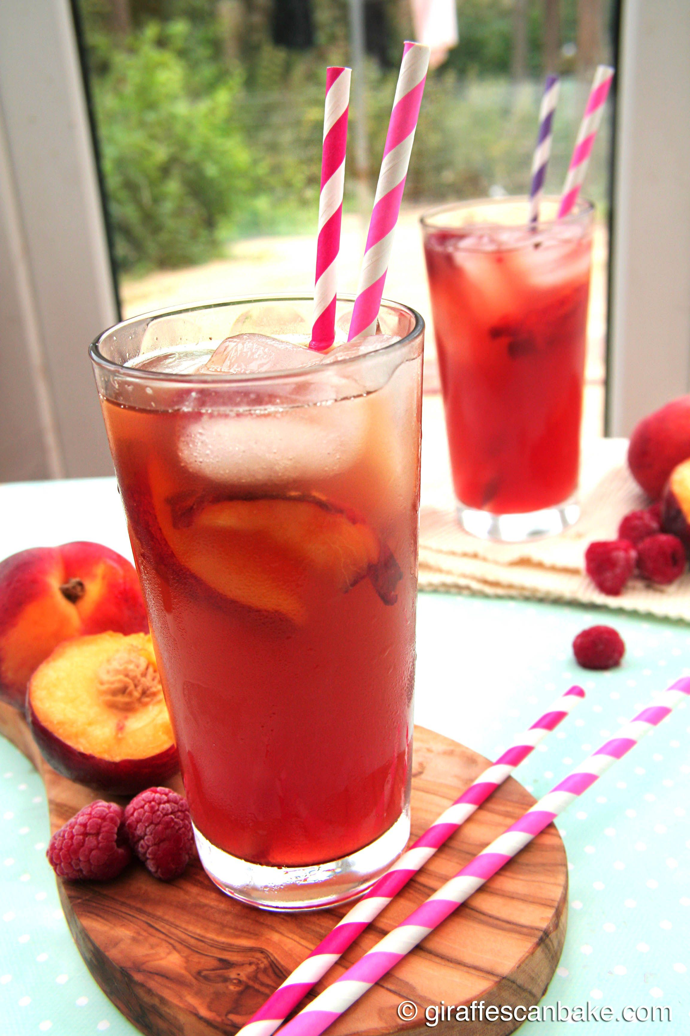 Peach Raspberry Iced Tea by Giraffes Can Bake - refreshing iced tea made with green tea and sweetened with homemade peach and raspberry syrup, ...