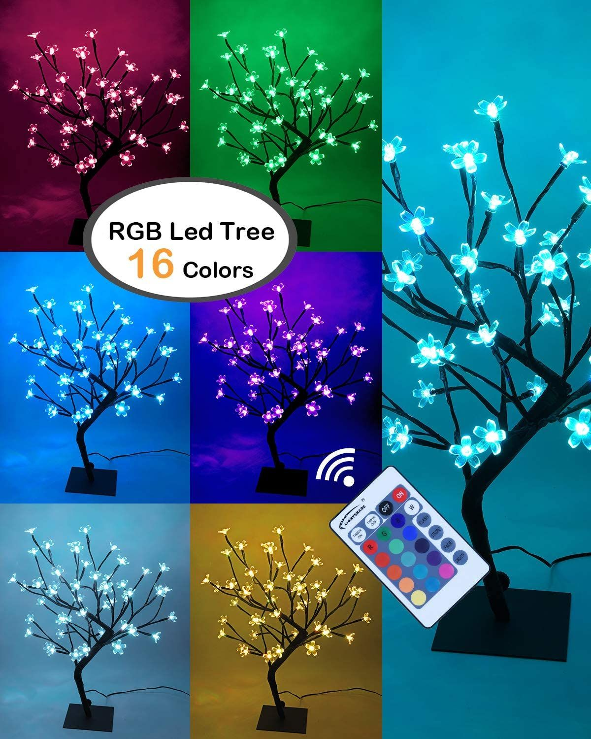 Lightshare 18inch Cherry Blossom Bonsai Tree 48 Led Lights Rgb With Remote Control 16 Color Cherry Blossom Bonsai Tree Cherry Blossom Light Tree Bonsai Tree