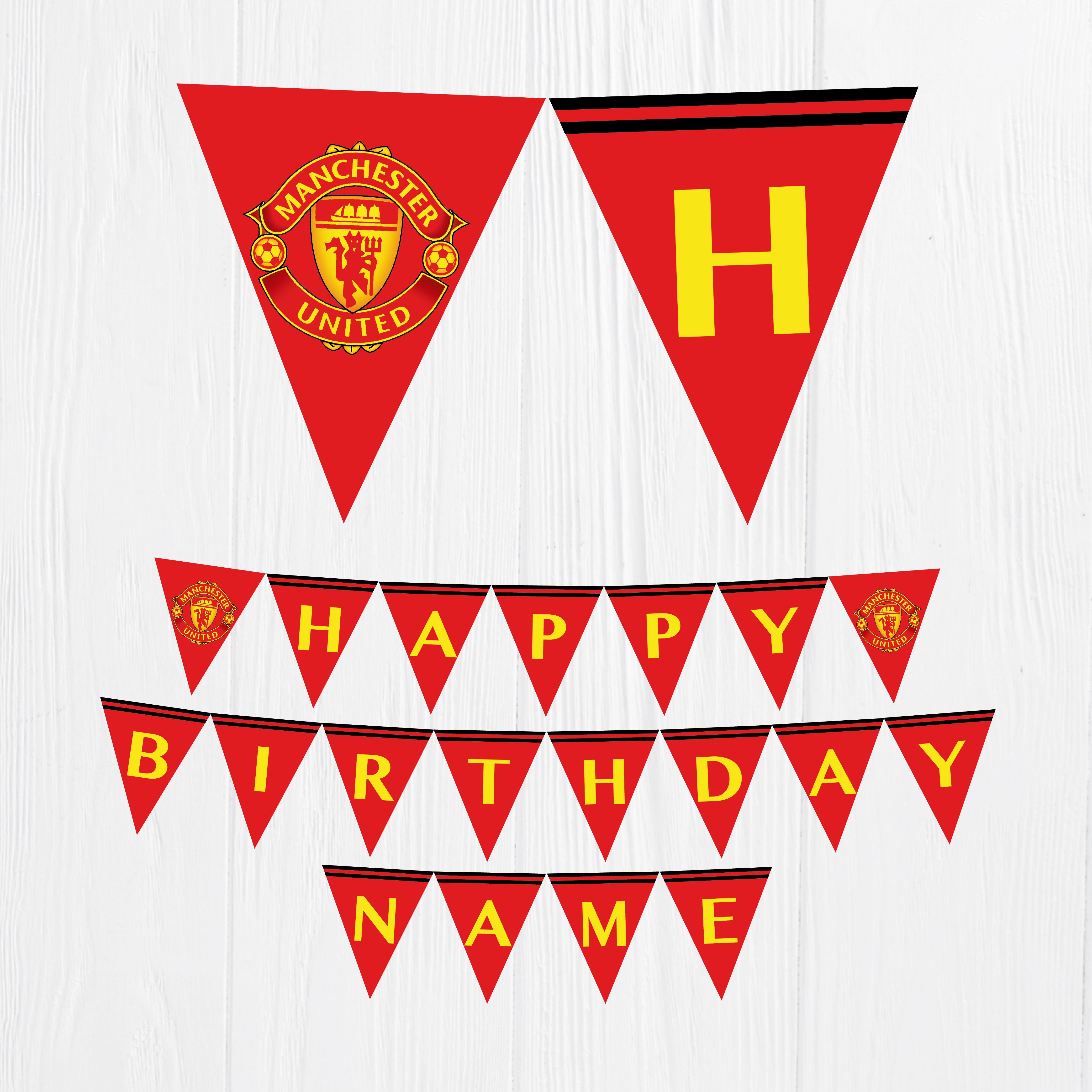 Manchester United Birthday Banner Party Manchester Digital Banner Banderin Manchester United Feliz Cumpleanos Manchester Party Ideas Digital Banner Birthday Banner Manchester United